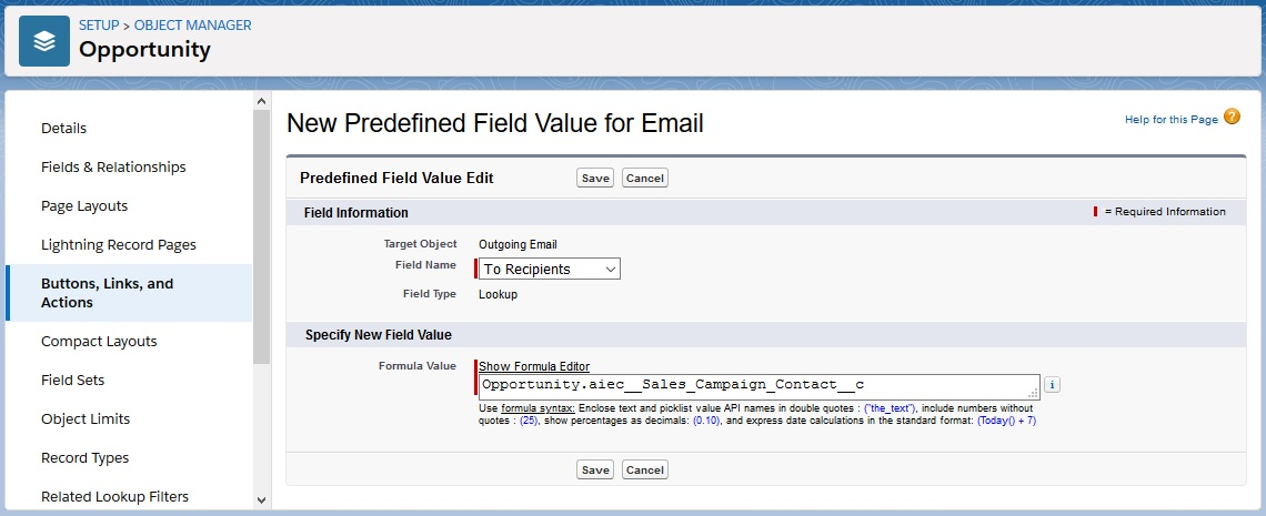 Predefined Field Value
